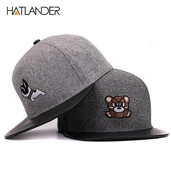 6 panel grey hip hop hats with doggy flat brim men baseball caps casual snap back caps for boys girls