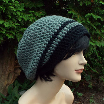 Concrete Gray Slouch Beanie - Mens Crochet Hat - Oversized Slouchy Beanie with Black Trim - Chunky Hat - Baggy Beanie - Slouchy Hat