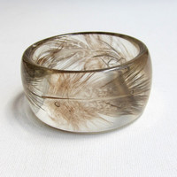 Vintage clear resin mottled brown feather bangle