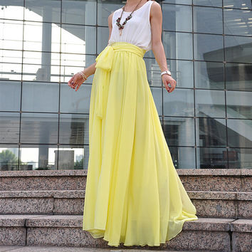 Beautiful Bow Tie Chiffon Maxi Skirt Silk Skirts Light Yellow Elastic Waist Summer Skirt Floor Length Long Skirt(037)