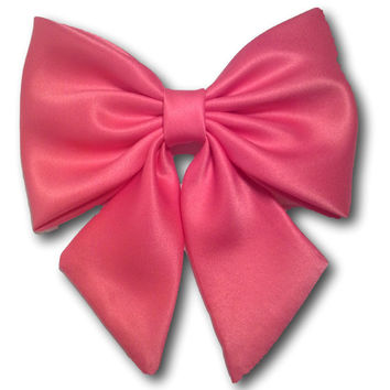 Prom Red Hair Bow/ Extra Large Satin Fabric Hair Bow/ Wedding  Dress Bow/ Big  Black Bow,/ Retro Pink Hair Bow/ Fabric Hair Bow