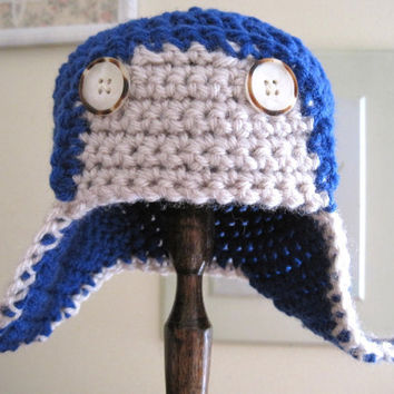 Aviator Hat Crochet Baby Hat Boy Hat Baby Photo by Monarchdancer