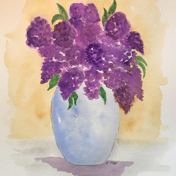 Lilac watercolor Flowers, Watercolor,  original floral painting, still life, purple lilac painting, floral watercolor bouquet.