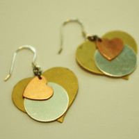 Copper, Silver, Brass Heart Earrings / French Wire / Handmade Beaded Earrings / Fashion Jewelry