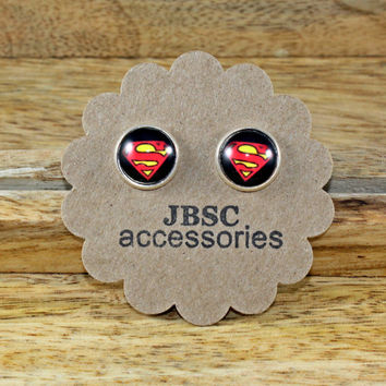 SUPERMAN, SUPERHERO Stud earrings , Cabochon, Unique , FUN studs