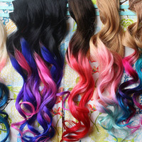 CUSTOM Ombre Dip Dyed Hair, Clip In Hair Extensions, Tie Dye Tips, Brunette Hair, Hair Wefts, Human Hair Extensions, Hippie hair