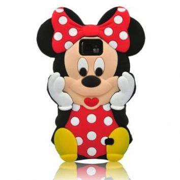 Red 3D Cute Mickey Minnie Mouse Soft Silicon Case Cover For Samsung Galaxy S2 i9100