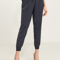 Satin Jogger Pant with Knit Cuff