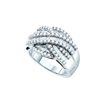 14kt White Gold Womens Baguette Round Diamond Crossover Cocktail Band Ring 1.00 Cttw 54045