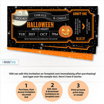 Halloween Theme Ticket Invitations - Movie Party Invitations - Halloween Movie Invitation - Halloween Horror - INSTANT ACCESS