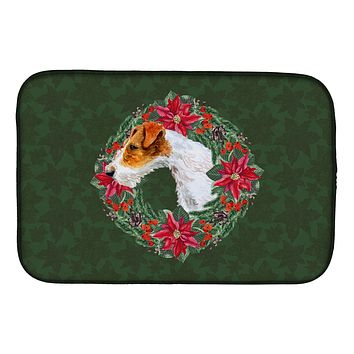 Fox Terrier Poinsetta Wreath Dish Drying Mat CK1516DDM