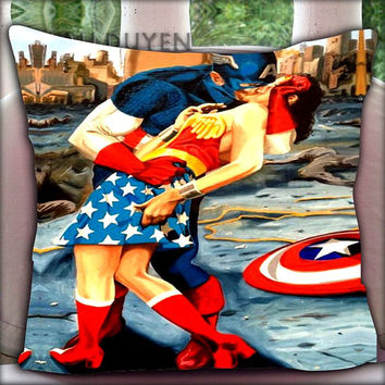 Captain American Kissing Wonder Women - Pillow Cover Pillow Case and Decorated Pillow.