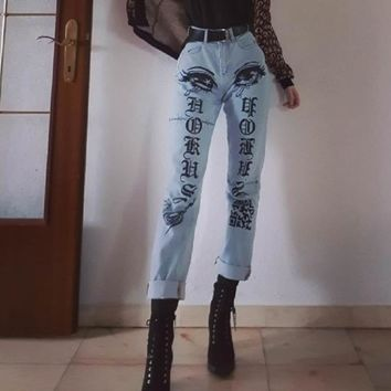 Vintage Flora Printed Jeans Woman Zipper Up Ripped Jeans for Women Patchwork High Waist Boyfriend Denim Straight Jeans Feminino