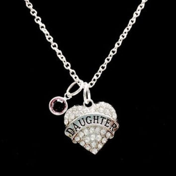 Birthstone Personalized Crystal Daughter Heart Gift Baby Girl Necklace