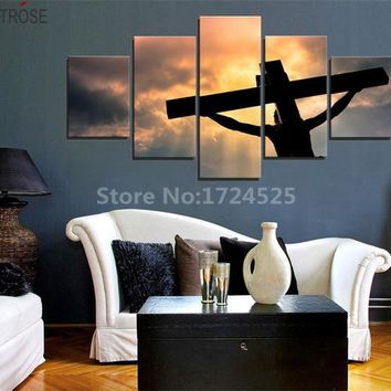 CLSTROSE High Quality 5 Piece Print Christian Sacrifice on Canvas Wall Art Decoration Living Room Canvas Painting Unframed