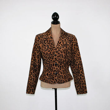 Leopard Print Jacket Womens Corduroy Blazer Large Brown Black Edgy Corduroy Jacket Animal Print Blazer Size 12 Jacket Cotton Womens Clothing