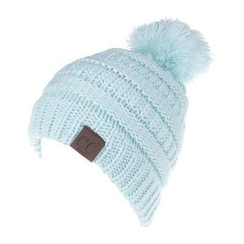 Letter CC Beanies Winter Knitted Hat with Pom Pom Kids Warm Bean b28db4ee784d