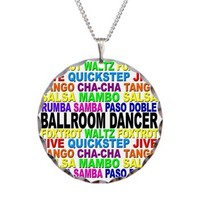 Ballroom Dancer Necklace Circle Charm