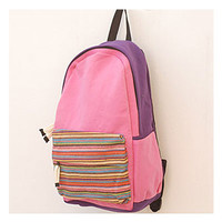 Nice PINK Striped Canvas Backpack