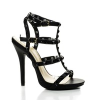 Bridget74 Black Pu By Wild Diva, Pyramid Studded Caged Open Toe Stiletto Sandals
