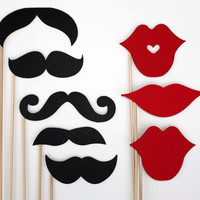 Mustache and Lips On a Stick - 8 Piece Set - Photo Booth Props