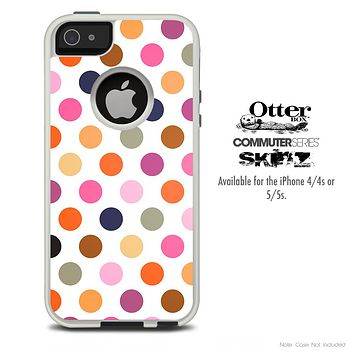 The Colored Polka Dot Skin For The iPhone 4-4s or 5-5s Otterbox Commuter Case
