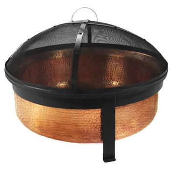 Hammered Copper Fire Pit Bowl - Spark Screen, Poker & Cover Included