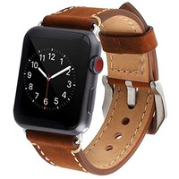 Apple Watch Band, 42mm Premium Vintage Genuine Leather Replacement Watchbands Stainless