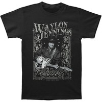 Waylon Jennings Men's  Portrait T-shirt Black