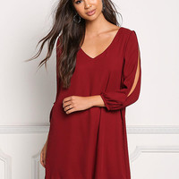Burgundy Sleeve Slit Chiffon Shift Dress