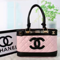 CHANEL Women Shopping Bag Leather Tote Handbag Shoulder Bag Pink