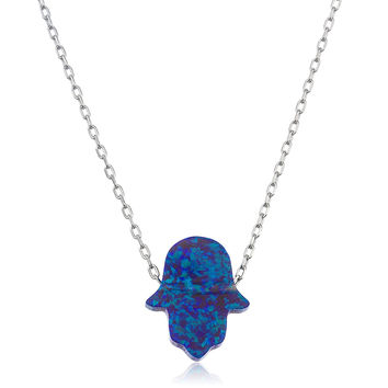 925 Sterling Silver Dark Blue Created Opal Hamsa Pendant with an 18 Inch Link Necklace