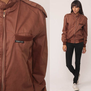 Members Only Jacket 80s Bomber Windbreaker Brown Cafe Racer