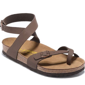 54749eab8711 2017 Birkenstock Summer Fashion Leather Cork Flats Beach Lovers Slippers  Casual Sandals For Women Men Couples