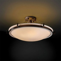 Justice Design Group PNA-9682-35-SMTH-NCKL-LED-5000 Porcelina Ring 24-Inch Six-Light Brushed Nickel Round 5000 Lumen LED Semi-Flush Mount With Ring - (In Brushed Nickel)
