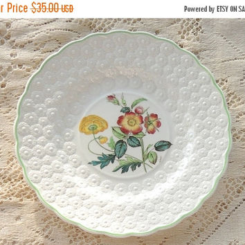 On Sale Vintage Spode Botanical  Plate, Flowers of the Month #9, Wild Rose Collectible Plate, Signed Numbered 9366, Cabinet Plate Ca. 1932