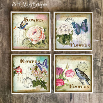 Shabby Chic Coasters,  Vintage Postcards With Flowers Birds Butterflies, Handmade Ceramic Tile Coasters, Hot and Cold Drinks, Made To Order