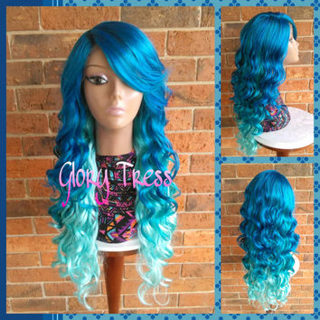READY To SHIP // Long Brazilian Wavy Lace Front Wig, Ombre Blue Wig, Body Wave Wig,  Mermaid Wig// Ocean Waves (Free Shipping)