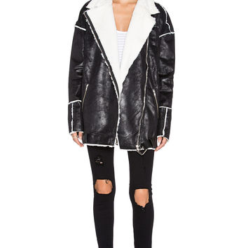 One Teaspoon Silver Cannon Faux Fur Coat in Black