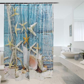 Lovely Bath Curtains Sea Star Printing 100% Polyester Fabric Waterproof Mildewproof Shower Curtain Bathroom Product With 12 Hook