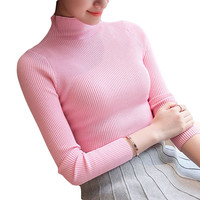 Hot 2017 Spring Autumn Winter Pullovers Fashion Turtleneck Sweater Women Twisted Thickening Slim Pullover Sweater SU0065