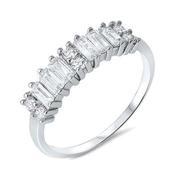 Unique Half Eternity Wedding Band with Baguette Round Cubic Zirconia Setting Silver Ring Sizes 59