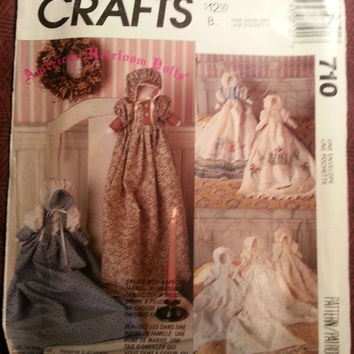 Uncut 1991 McCall's Sewing pattern, 710! American Heirloom Dolls/Stuffed Dolls/Doll Clothes/Night Gowns/Hooded Dress/Country Western Decor