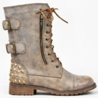 HARLEY-12 Studded Lace Up/Buckle Mid Calf Military Combat Boot, Tan Distressed 10