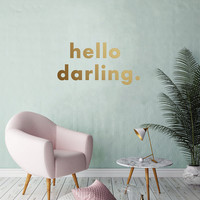 Hello Darling Wall Decal, Typography Wall Sticker, Kids Sticker, Typography Decal, Nursery Decal, Office Decor, Bedroom Wall Decal