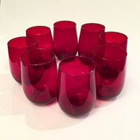 Ruby Glass Tumblers, Set of 8 Red Glass Tumblers, Roly Poly Glasses, Drinking Glasses, Barware