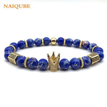 New Trendy Diy Luxury Pave CZ Cube Crown Charm Bracelet For Men or Women Stone Bead Bracelet Fashion Jewelry