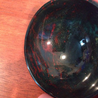 "Carved Bloodstone Gem Stone 3"" Bowl - Reiki Healing, Offerings, Meditation or Wiccan Alter Tool for Energy Magick"
