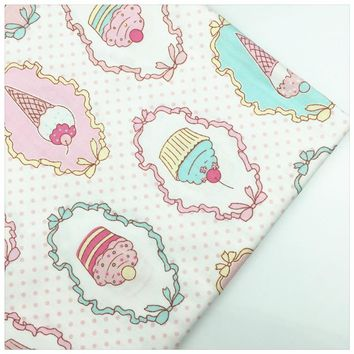 Syunss,Coloring Ice Cream Print 100% Cotton Fabric DIY Tissu Patchwork Telas Sewing Baby Toy Bedding Quilting Cloth Craft Tecido