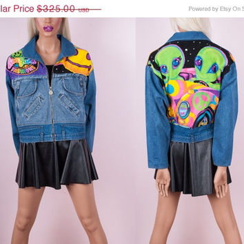 90s Lisa Frank Alien Denim Jacket